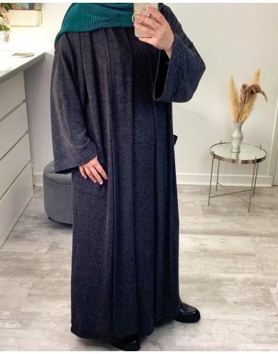Ensemble abaya et gilet en maille fine gris foncé