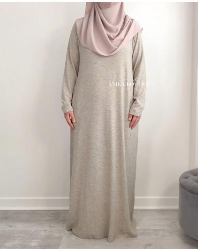Abaya  en maille fine Taupe